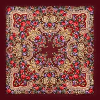 Châle Russe Pavlov Possad en laine